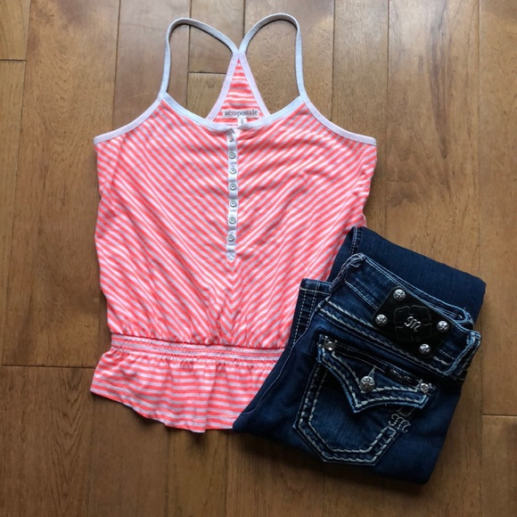 Aeropostale Tops - Aeropostale coral white striped tank small